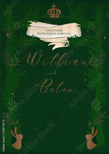 Fototapeta Green Story Cover Book Wedding Invitation Card