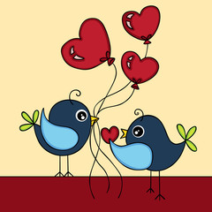 Birds in love background