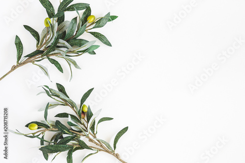 Olive branches on white background. Flat lay, top view, copy space