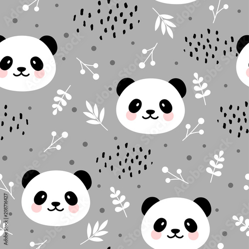 Valokuva  Cute panda seamless pattern, hand drawn forest background with flowers and dots,