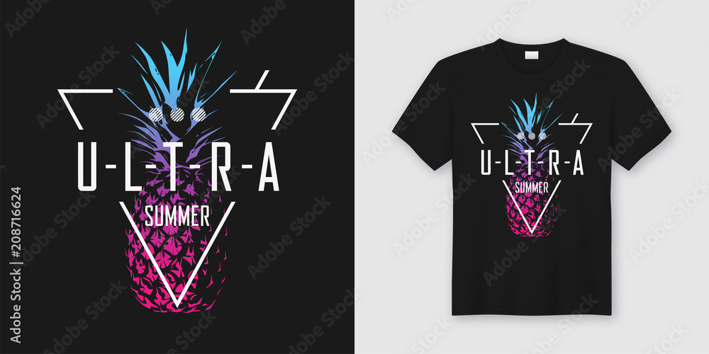 Fototapety, obrazy: Ultra summer. Stylish t-shirt and apparel modern design with neo