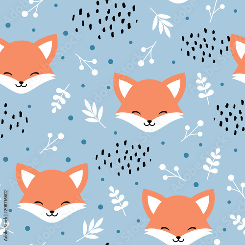wzor-ladny-lis-wilk-recznie-rysowane-tla-lasu-z-kwiatow-i-kropek-ilustracji-wektorowych
