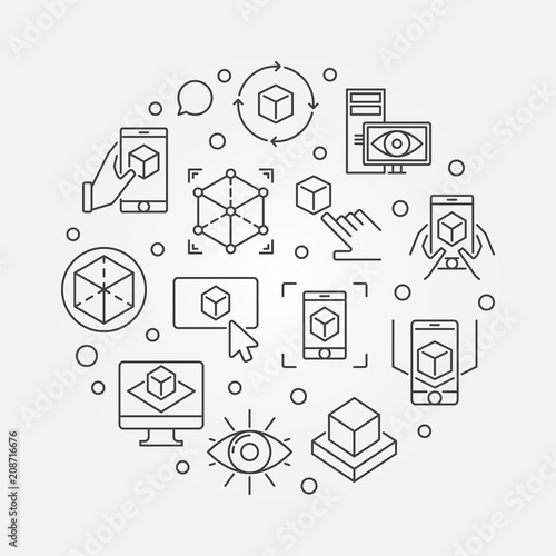 AR Technology vector round concept outline illustration Wallpaper Mural
