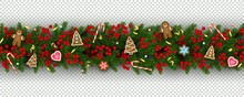 Christmas And New Year Border Of Realistic Branches Of Christmas Tree, Holly Berries, Christmas Cookies