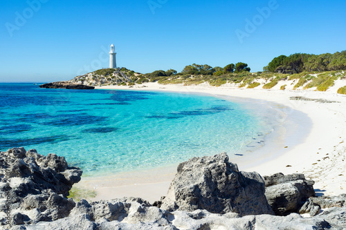 Aluminium Prints Blue Summer day at Pinky Beach and the Bathurst Lighthouse on Rottnest Island, Perth, Western Australia, Australia.