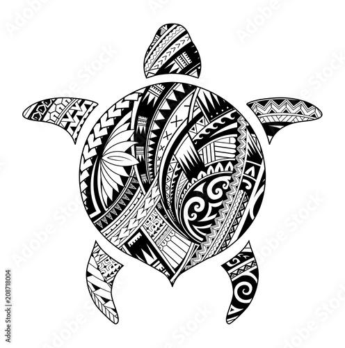 Tribal tattoo for aboriginal turtle shape