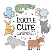 Vector cartoon sketch poster with cute doodle animals