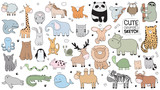 Fototapeta Fototapety na ścianę do pokoju dziecięcego - Vector cartoon big set of cute doodle animals