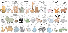 Vector Cartoon Big Set Of Cute...