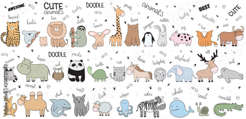 Fotografija Vector cartoon big set of cute doodle animals
