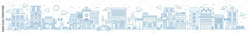 Fototapeta Monochrome horizontal urban landscape with city or town street or district. Cityscape with living houses and shops drawn with contour lines on white background. Vector illustration in lineart style.