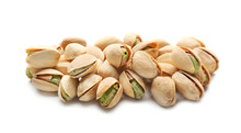 Tasty Pistachio Nuts On White ...