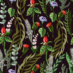 Fototapeta Egzotyczne Seamless pattern with tropical and wild flowers. Vector illustration.