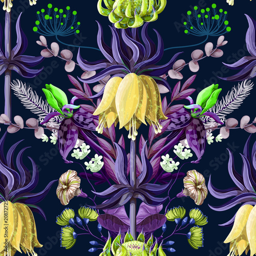 Canvas Print Seamless pattern with tropical flowers in blue color and symmetry composition