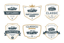 Set Of Muscle Car Emblems And Badges.