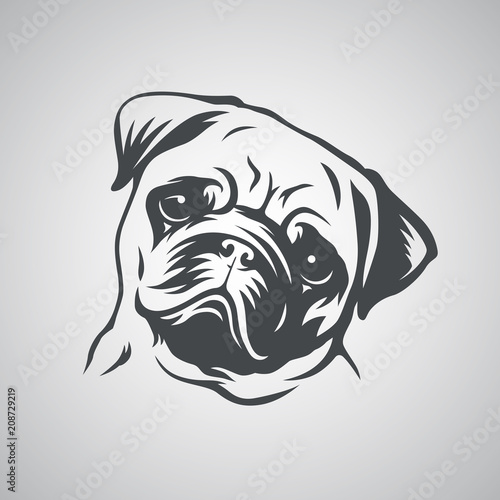 Cute pug dog head. Vector illustration. Wallpaper Mural