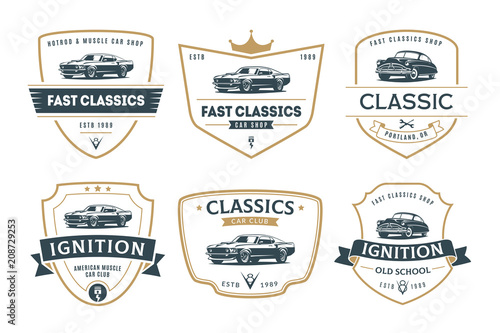 Set Of Muscle Car Emblems And Badges Buy This Stock Vector And