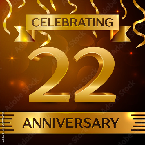 Poster  Realistic Twenty two Years Anniversary Celebration Design