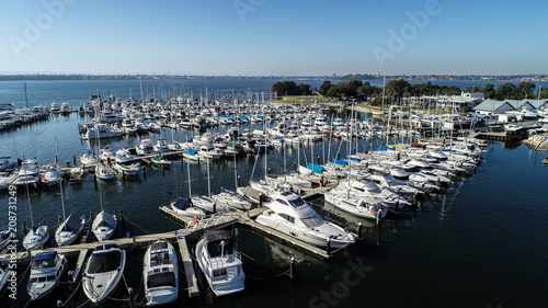 Foto op Plexiglas Arctica Aerial view of boating marina with yachts and speedboats on Swan River in Perth, Western Australia