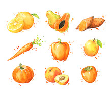 Assortment Of Orange Foods, Wa...