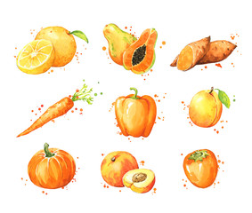 Assortment of orange foods, watercolor fruit and vegtables