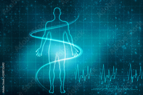 2d illustration Human Male Muscle Body плакат