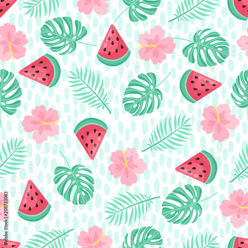 Cotton fabric Seamless pattern with tropical palm leaves and bananas. Vector illustration.