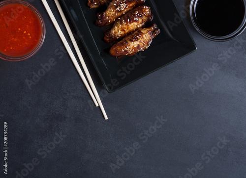 Traditional Asian stir fry wings with sesame and vegetables Billede på lærred