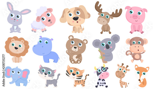Cute animals set. Flat design #208735277