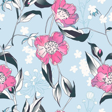 Seamless Pattern, Hand Drawn Pink Camellia Flowers With Leaves On Blue Background