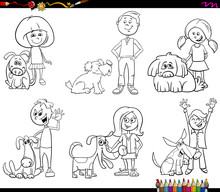 Children And Dog Characters Coloring Book