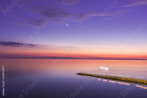 Spoed Foto op Canvas Snoeien Seascape, view of breakwater, long exposure, Black Sea, Small Bay, Anapa, Russia