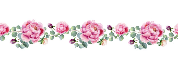 Panel Szklany Peonie Watercolor vector hand painting horizontal banner of peony flowers and green leaves.