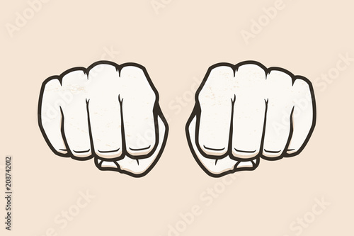 Fotografiet Human fists vector illustration