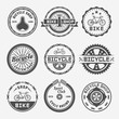Bicycle shop vector round labels, badges, emblems