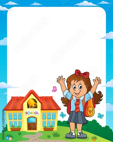 Deurstickers Voor kinderen Happy pupil girl theme frame 1