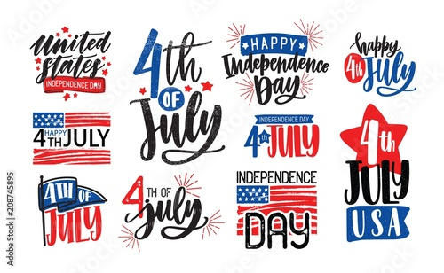 Fotografia  Collection of USA Independence Day lettering written with artistic calligraphic fonts and decorated