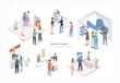 People walking among commercial promotional stands and talking to consultants and promoters advertising products or services at trade fair or exhibition. Colorful isometric vector illustration.