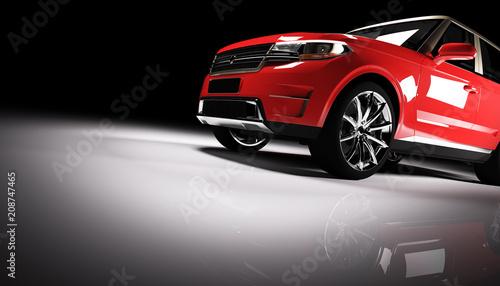 Fototapeta Modern red SUV car in a spotlight on a black background. obraz na płótnie