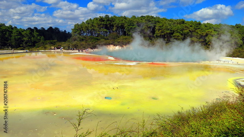 Deurstickers Zwavel geel Geyser in Rotorua, New Zealand