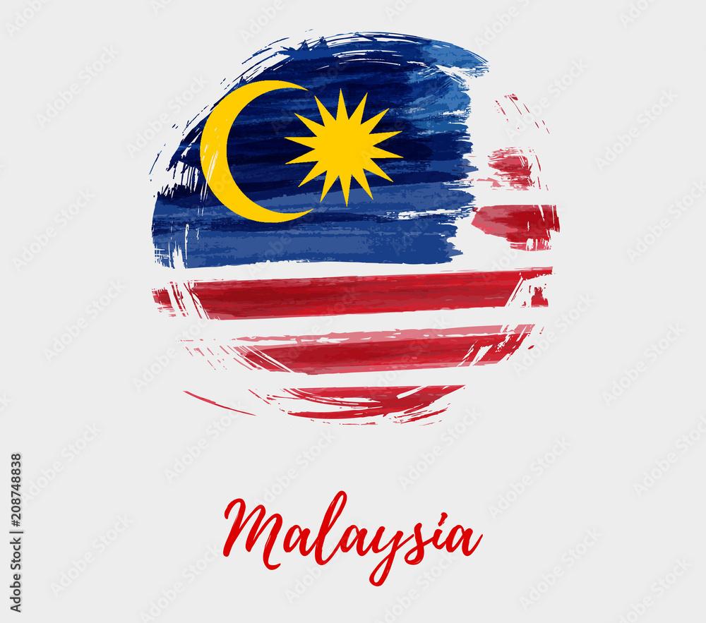 Fototapeta Malaysia background with flag in round grunge shape