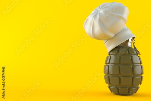 Cooking hat with hand grenade - Buy this stock illustration