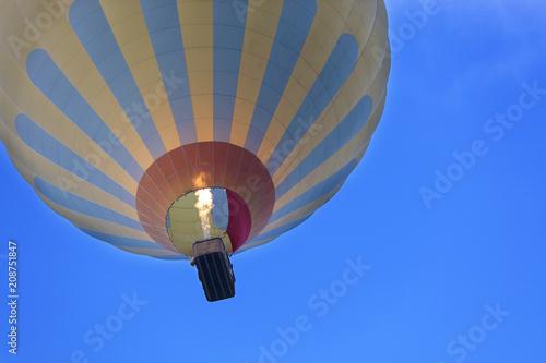 Flight of a balloon in a blue sky