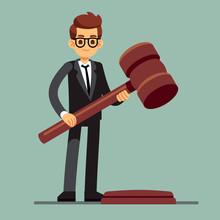 Business Lawyer Holding Wooden Judge Gavel. Legal Verdict, Legislation Authority Vector Concept