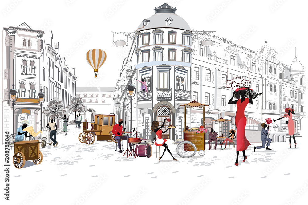 Fototapeta Series of the street cafes with people, men and women, in the old city, vector illustration. Waiters serve the tables.