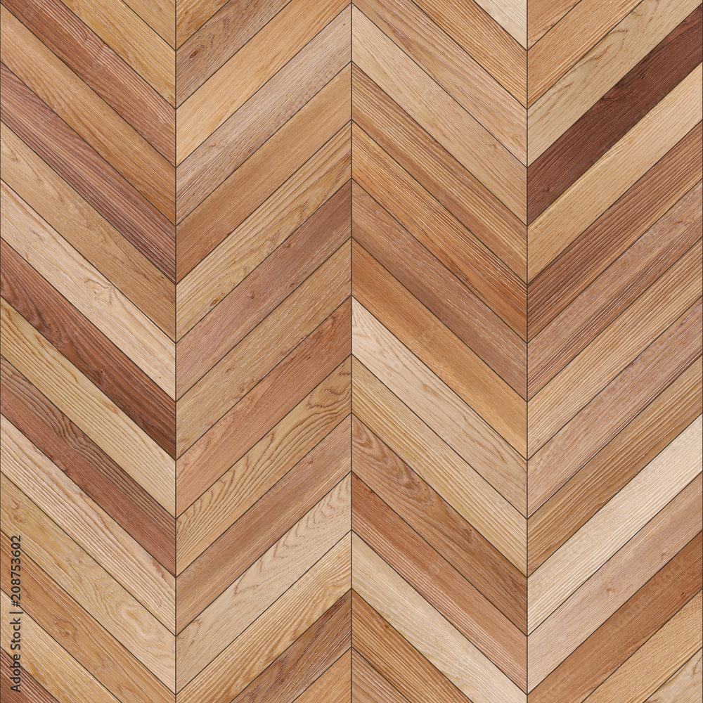 Seamless wood parquet texture chevron light brown  - obrazy, fototapety, plakaty