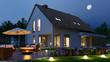 canvas print picture - Einfamilienhaus mit Licht im Garten nachts