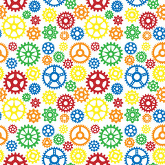 Vector gears icons seamless pattern background machine wheel mechanism machinery mechanical technology technical sign.