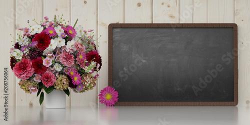 Papiers peints Individuel Blumenstrauß neben Tafel zur Gratulation