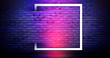 canvas print picture Brick wall background, neon light